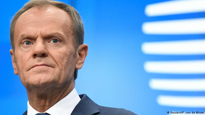 European Council President Donald Tusk at the end of the EU leaders summit dominated by Brexit