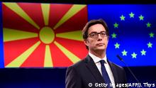President of North Macedonia Stevo Pendarovski gives a press conference with President of European Council (unseen) after their bilateral meeting at the EU headquarters in Brussels, on June 12, 2019. (Photo by JOHN THYS / AFP) (Photo credit should read JOHN THYS/AFP/Getty Images)