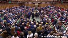General view of the House of Commons after the announcement of the result of the vote on the deal delay as parliament discusses Brexit, sitting on a Saturday for the first time since the 1982 Falklands War, in London, Britain, October 19, 2019, in this screen grab taken from video. Parliament TV via REUTERS