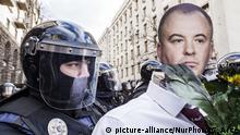 Ukraine Oleg Gladkovsky Puppe auf Anti-Korruptions-Demo in Kiew