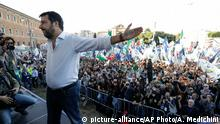 The League leader Matteo Salvini addresses a rally in Rome, Saturday, Oct. 19, 2019. Thousands of protesters are gathering in Rome for a so-called Italian Pride rally, which brings together the right-wing League of Salvini, the far-right Brothers of Italy of Giorgia Meloni and former premier Silvio Berlusconi's Forza Italia. (AP Photo/Andrew Medichini)