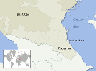 A map of Dagestan, in the North Caucasus