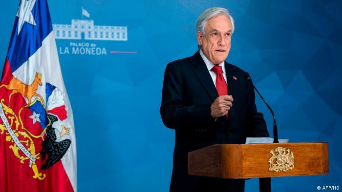 Chilean President Sebastian Pinera declaring a state of emergency