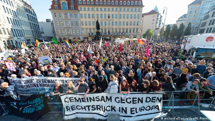 Anti-PEGIDA protest in Dresden