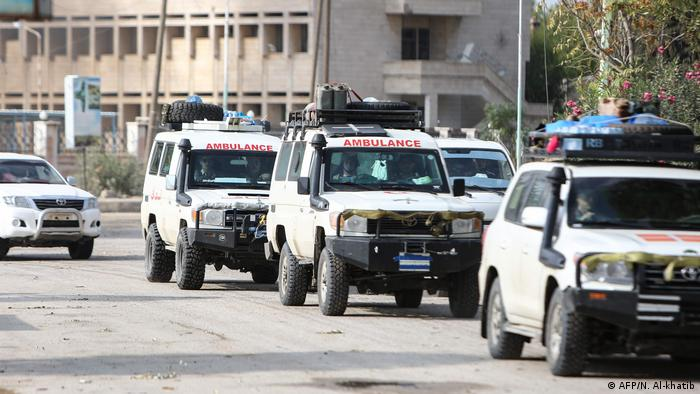 convoy of ambulances evacuating fighters and injured members of the Kurdish-led Syrian Democratic Forces