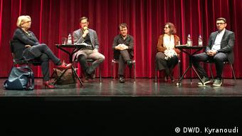 Από τη συζήτηση στην Brotfabrik της Βόννης. Από αριστερά: Αντελχάιντ Φάιλκε, Έκερχαρντ Πίστρικ, Μπλένταρ Κόντι, Ρουθ Γιάκομπι και Αλί Σαλιχού