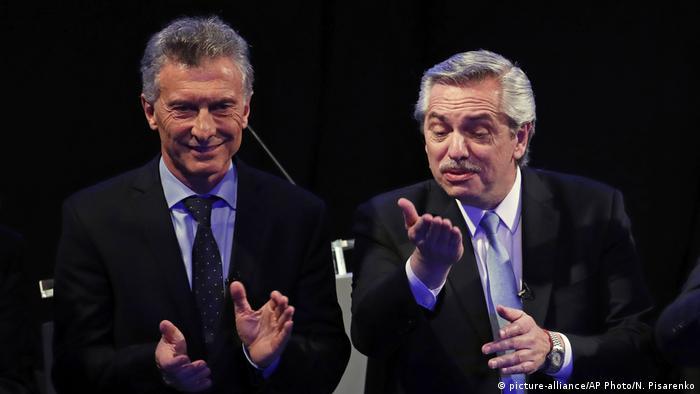 Argentina Presidential Debate Mauricio Macri Alberto Fernandez (picture-alliance/AP Photo/N. Pisarenko)