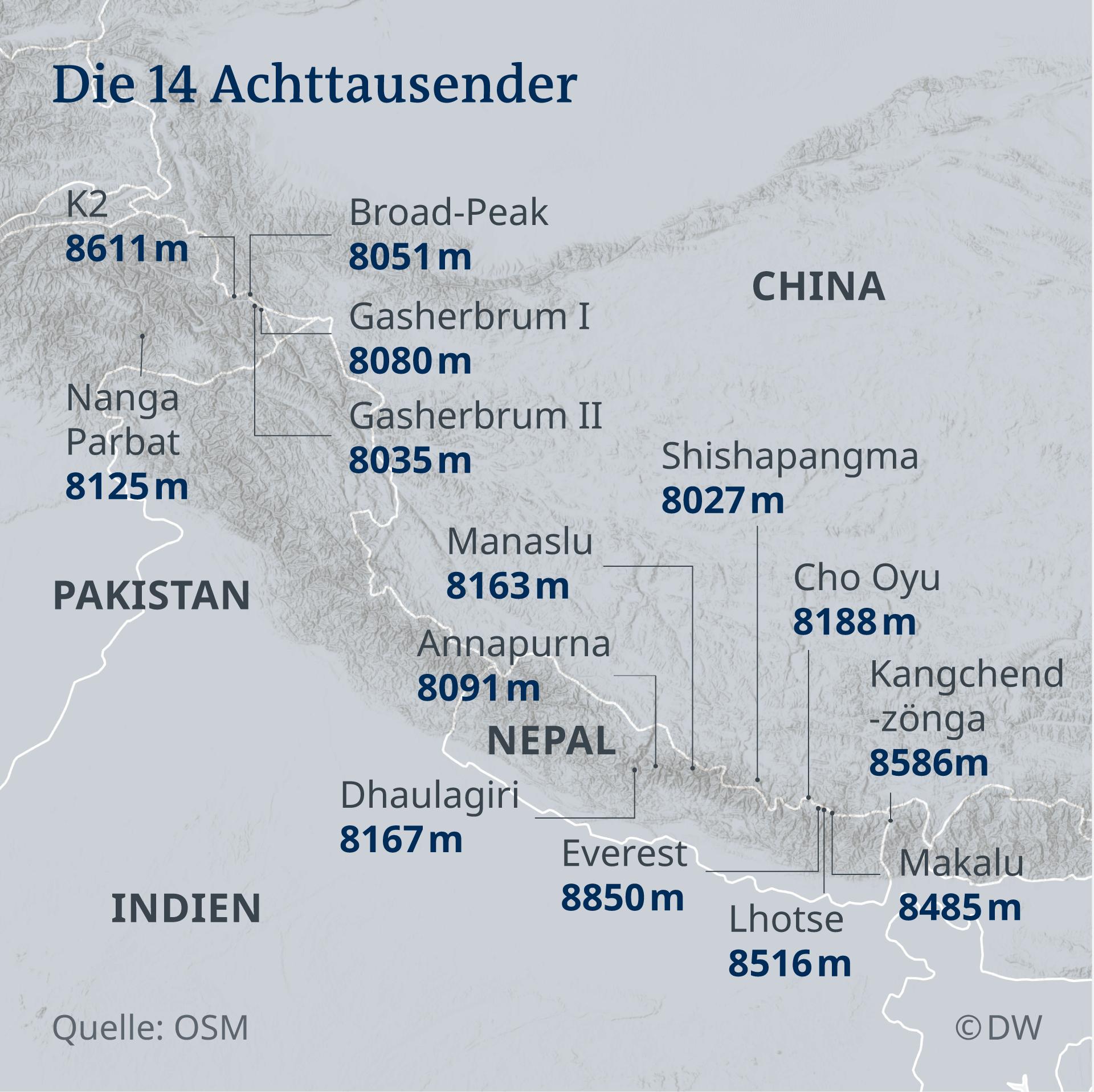 Infografik Karte die 14 Achttausender DE