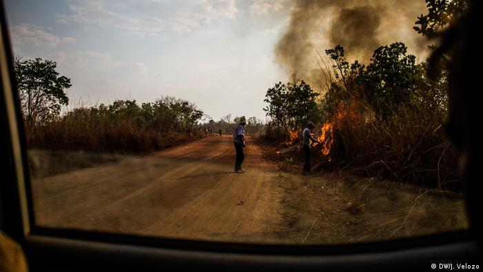Two men stand near a fire burning beside a dirt road through a forest