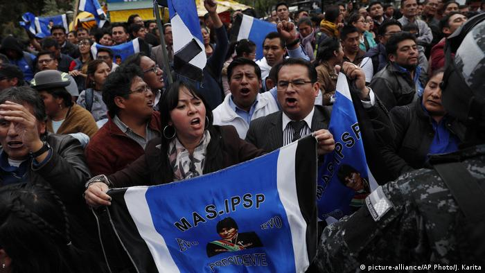 Supporters of Morales rallied on Monday outside the Supreme Electoral Court where election ballots are being counted in La Paz