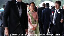 TOKYO, JAPAN - OCTOBER 22 : Myanmar State Counsellor Daw Aung San Suu Kyi (C) arrives at the Imperial Palace to attend the proclamation ceremony of Japan's Emperor Naruhito in Tokyo, Japan October 22, 2019. AP Photo/Koji Sasahara/Pool / Anadolu Agency   Keine Weitergabe an Wiederverkäufer.