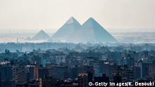 A picture taken on February 28, 2018 shows a view of the Pyramids of Giza on the southwestern outskirts of the Egyptian capital Cairo. (Photo by KHALED DESOUKI / AFP) (Photo credit should read KHALED DESOUKI/AFP/Getty Images)