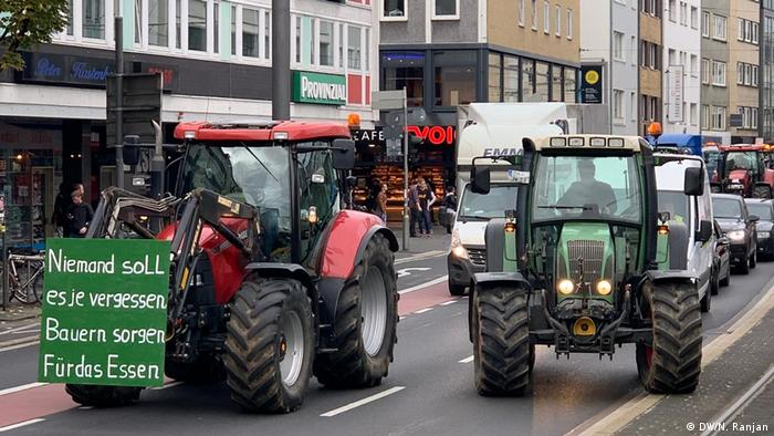 Tractors drive through Bonn