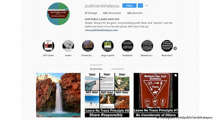 Tampilan layar akun Instagram Public Lands Hate You