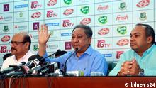 Bangladesh Cricket Board (BCB) President Nazmul Hassan Papon (in photo middle) press conference event in BCB auditorium in Dhaka city on 21 October 2019. Copyright: bdnews24.com