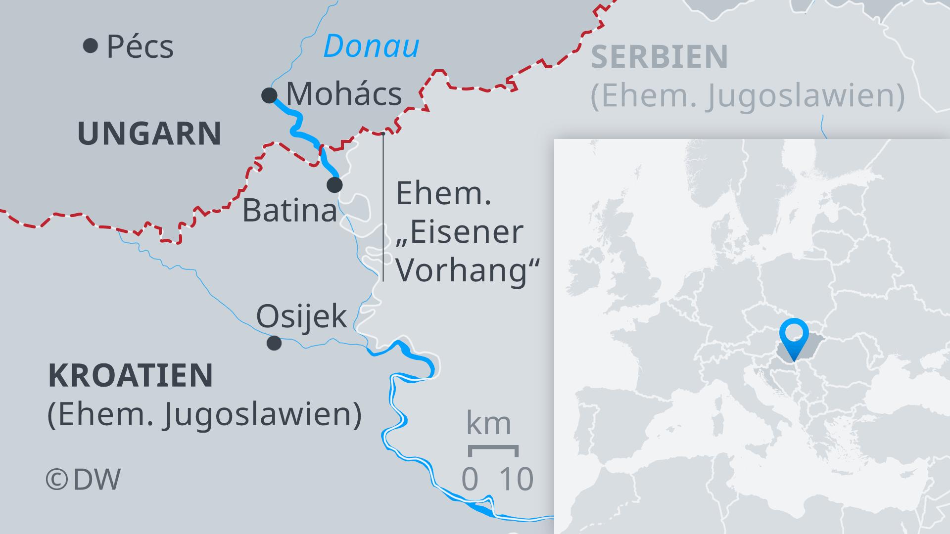 Infografik Karte Donau Ungarn Kroatien Serbien