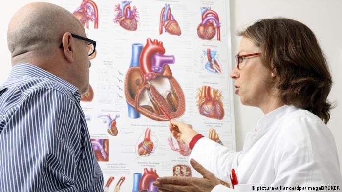 Symbolbild   Arztpraxis, Ärztin erklärt Patient die Funktionsweise und mögliche Erkrankungen des menschlichen Herzens