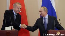 Russland Treffen Recep Tayyip Erdogan und Wladimir Putin in Sotschi