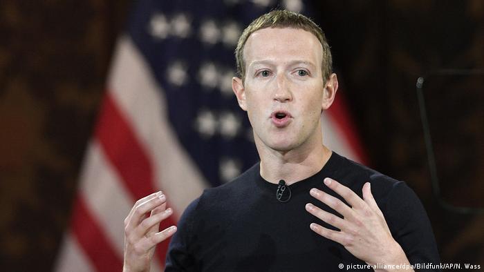 مدير شركة فيسبوك مارك زوكربرغ في جامعة جورج تاون في واشنطن (17.10.2020)