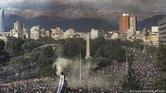 Protestos contra o governo em Santiago, Chile