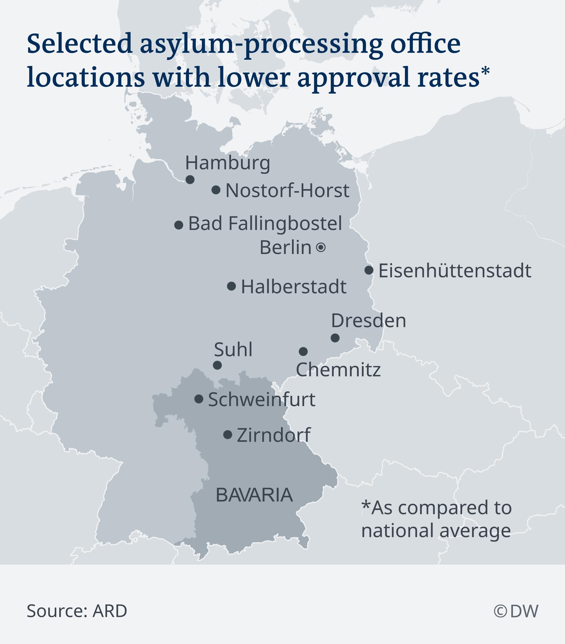 Infografik Karte Asylstellen mit niedriger Zustimmungs-Rate EN