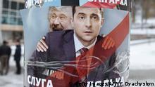 Ukraine Lwiw | Wahlplakat mit Volodymyr Zelensky und oligarch Ihor Kolomoyskyi