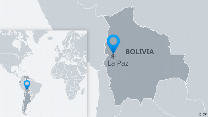 Map of Bolivia showing the location of La Paz