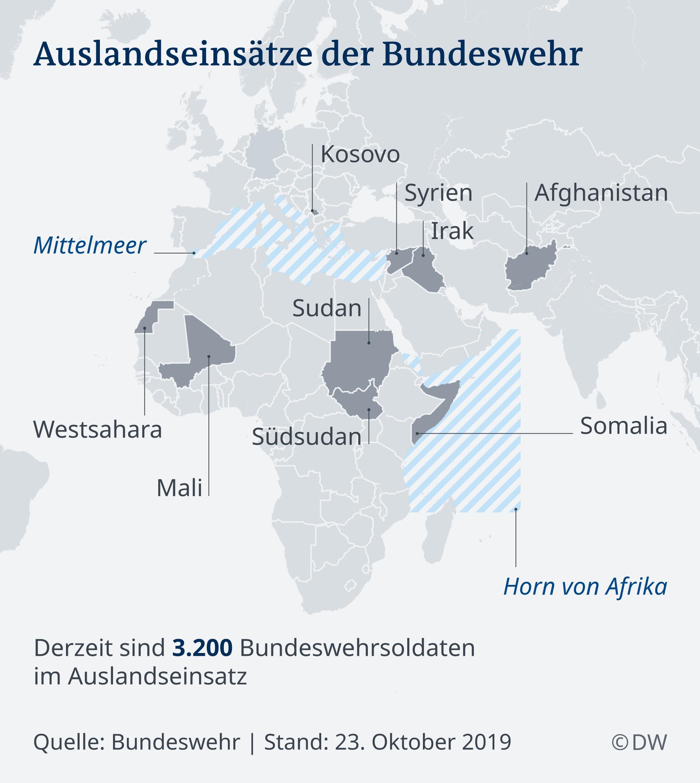 Infografik Karte Auslandseinsätze Bundeswehr DE
