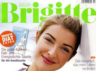 Front cover of Brigitte women's magazine with label reading: Without models.