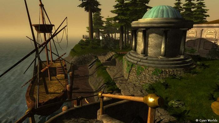 A scene from the game Myst features a ship and a pavilion on land next to it (1993) (Cyan Worlds)