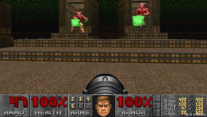 Computer game Doom shows a shooter from the first-person perspective (id Software).