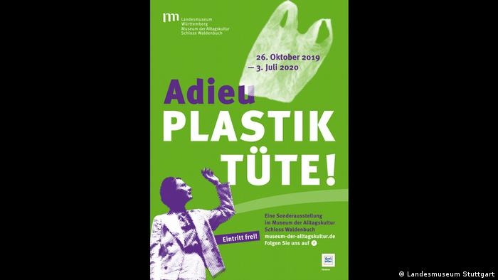 Poster for the exhibition Goodbye, plastic bag! at the Museum of Everyday Life - Schloss Waldenbuch. A woman is seen waving farewell as a bag flies away.