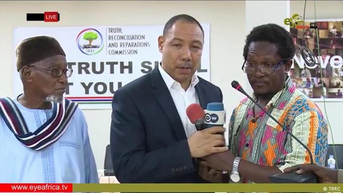 Edward Signateh and Sana Sabally, who organized the 1994 coup and then fell out, testifying in front of the truth and reconciliation commission.