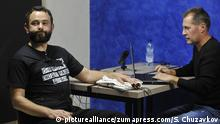 Oleksandr Dubinsky unterzeiht sich einem Lügendetektortest in Kiew, Ukraine