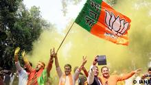 New Delhi: BJP supporters celebrate as assembly election results being announced at BJP office in New Delhi on March 11, 2017. (Photo: IANS)