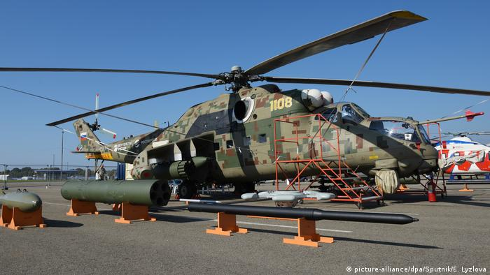 A Russian military helicopter on display at the Russia-Africa Summit in 2019