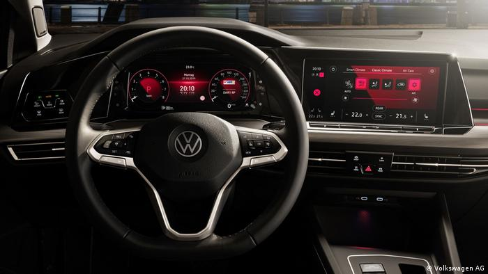 Dashboard of a Golf 8 car from Volkswagen flashing some red lights