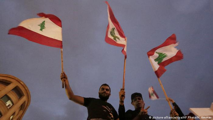 Libanon   Demonstranten in Beirut