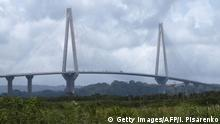 View of the Atlantic Bridge over the Panama Canal, in Colon, 80 km from Panama City, on August 2, 2019, the day of its inauguration. - The third bridge over the Panama Canal was inaugurated Friday, a gigantic cable-stayed bridge of almost five kilometers, the longest in the country. (Photo by Ivan PISARENKO / AFP) (Photo credit should read IVAN PISARENKO/AFP/Getty Images)