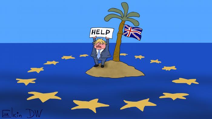 Карикатура - премьер-министр Великобритании Борис Джонсон на необитаемом острове с британским флагом на пальме держит высоко над головой плакат с надписью Hepl, вокруг острова - словно акульи плавники - звезды с флага Европейского Союза.