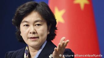 Die Sprecherin des chinesischen Aussenministeriums Hua (picture-alliance/dpa/Kyodo)