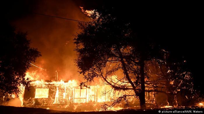Incêndio florestal no Condado de Sonoma atinge casa