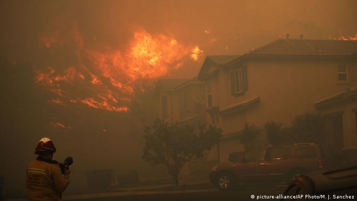A house on fire near Los Angeles