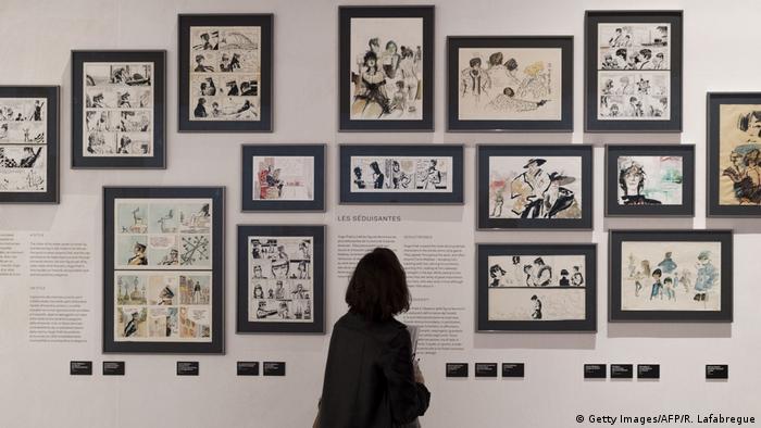 Exposición de la historieta Corto Maltés, del dibujante italiano Hugo Pratt, en Lyon.