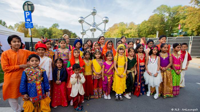 Diwali is celebrated not only in India, where more than 80 percent of the people identify themselves as Hindus, but also in other countries with large Hindu populations such as Nepal, Sri Lanka, Myanmar, Mauritius, Malaysia and Singapore. Here, a group of Hindu devotees in Brussels, celebrate Diwali near Atomium area.