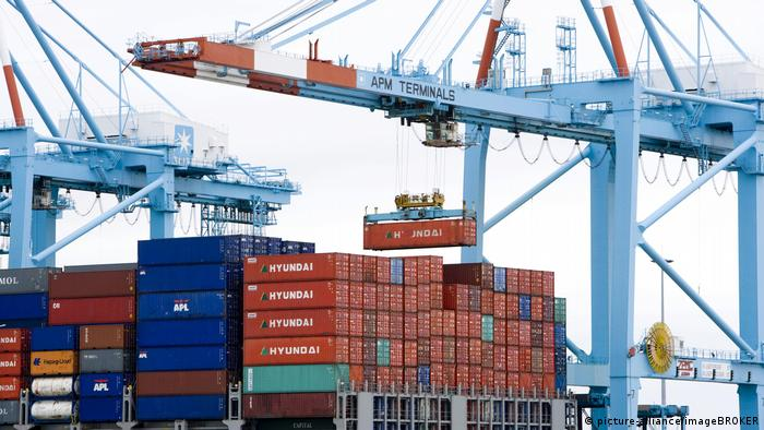 This container ship in Zeebrugge, Belgium, may still be able to unload its cargo, but the crew are not allow to disembark
