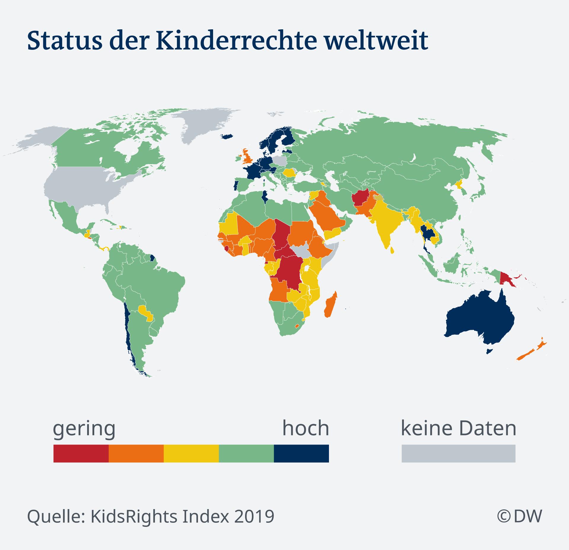 Indeks organizacije KidsRight o pravima djece u svijetu - crveno je loše, plavo je visoko
