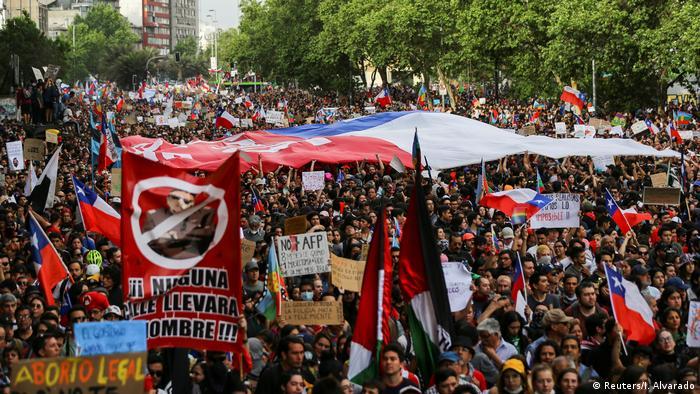 Protesters in Santiago