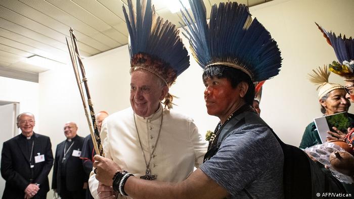 Pope in an Amazonian headdress (AFP/Vatican)