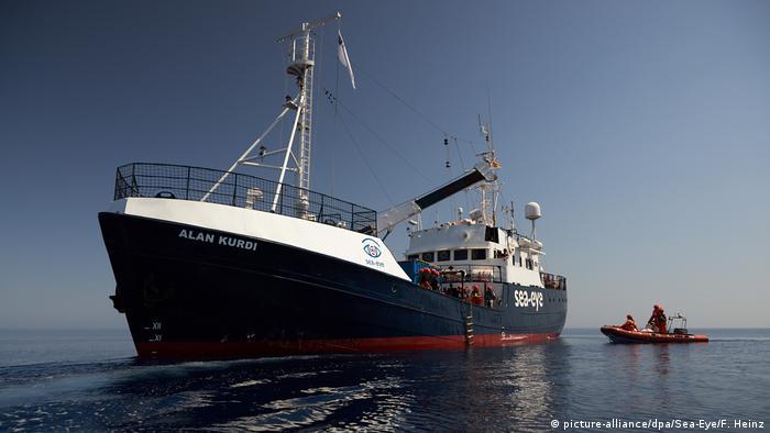 The Alan Kurdi boat sits in water